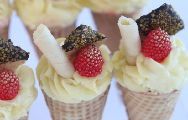 Cheesecake Cones in Classic NY Flavor with Candy Raspberry