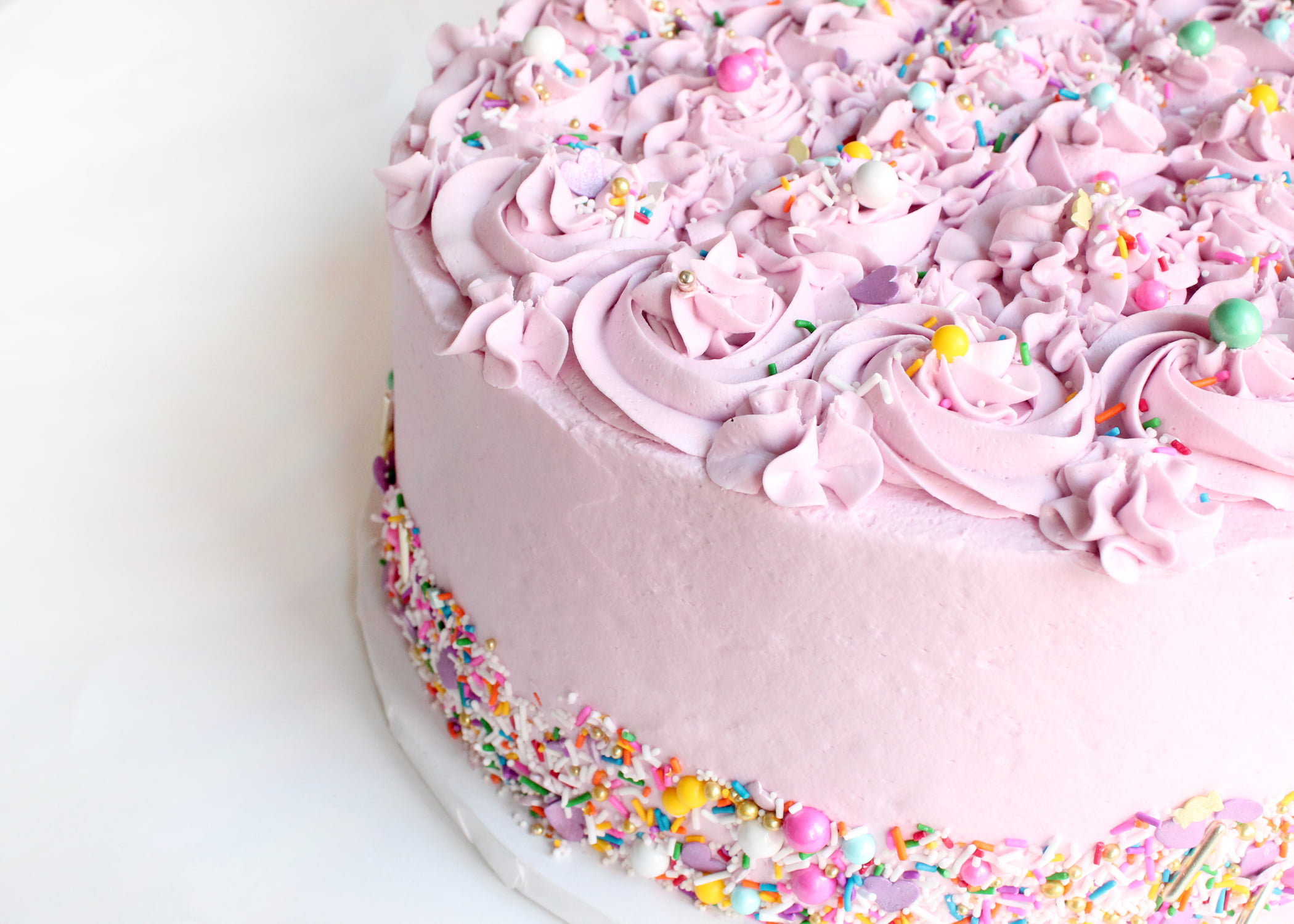 Rosettes and Fancy Sprinkles Pink Birthday or Celebration Cake