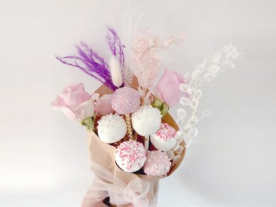Cake Pop Bouquet with Pink Flowers and Pops