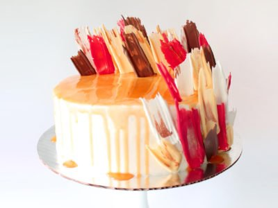 Fall Brushstroke Cake in Red, White, Orange and Brown with Caramel Drip