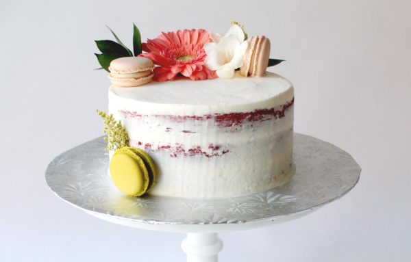 Semi-Naked with Fresh Flowers and Macarons Cake