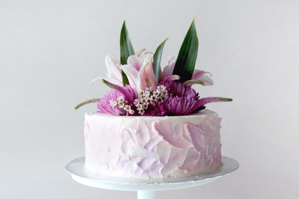 Watercolor Buttercream Cake with Flowers