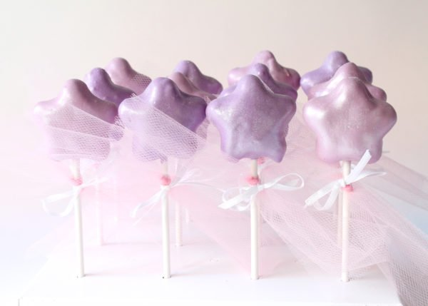 Purple Star Magical Fairy Wand Cake Pops with Glitter and Ribbons