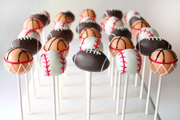 Cute Sports Themed Cake Pops for birthday parties including Football Cake Pops, Basketball Cake Pops, Baseball Cake Pops